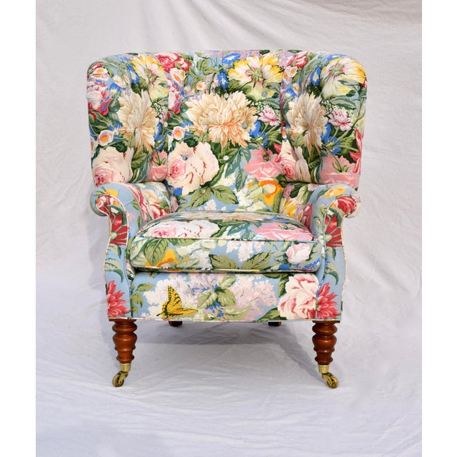 Baker Furniture Floral Tufted Wingback Chair on Brass Casters For Sale - Image 13 of 13
