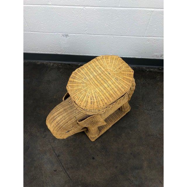 Rattan Vintage Woven Rattan Elephant Tray Table For Sale - Image 7 of 13