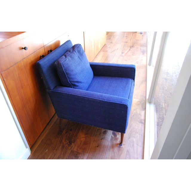 Mid-Century Modern Vintage Mid-Century Modern Navy Wool Arm Chair For Sale - Image 3 of 5