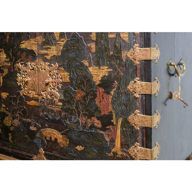 Chinese lacquered cabinet on stand For Sale In West Palm - Image 6 of 11