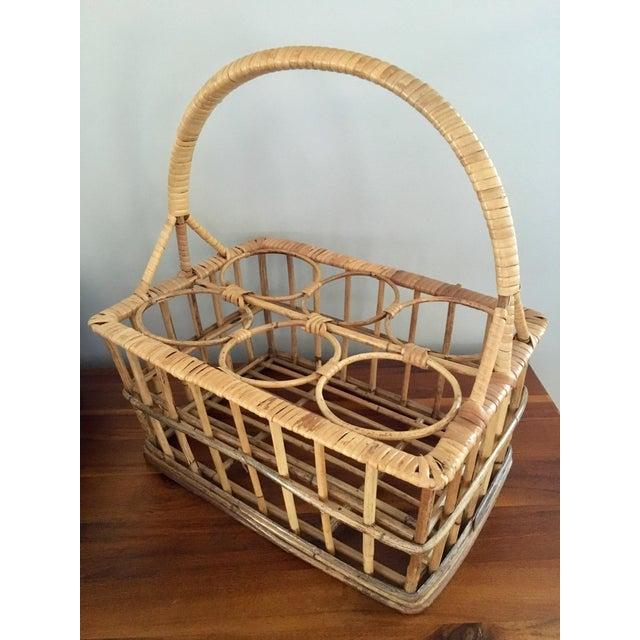 Vintage Rattan Wine Caddy Basket