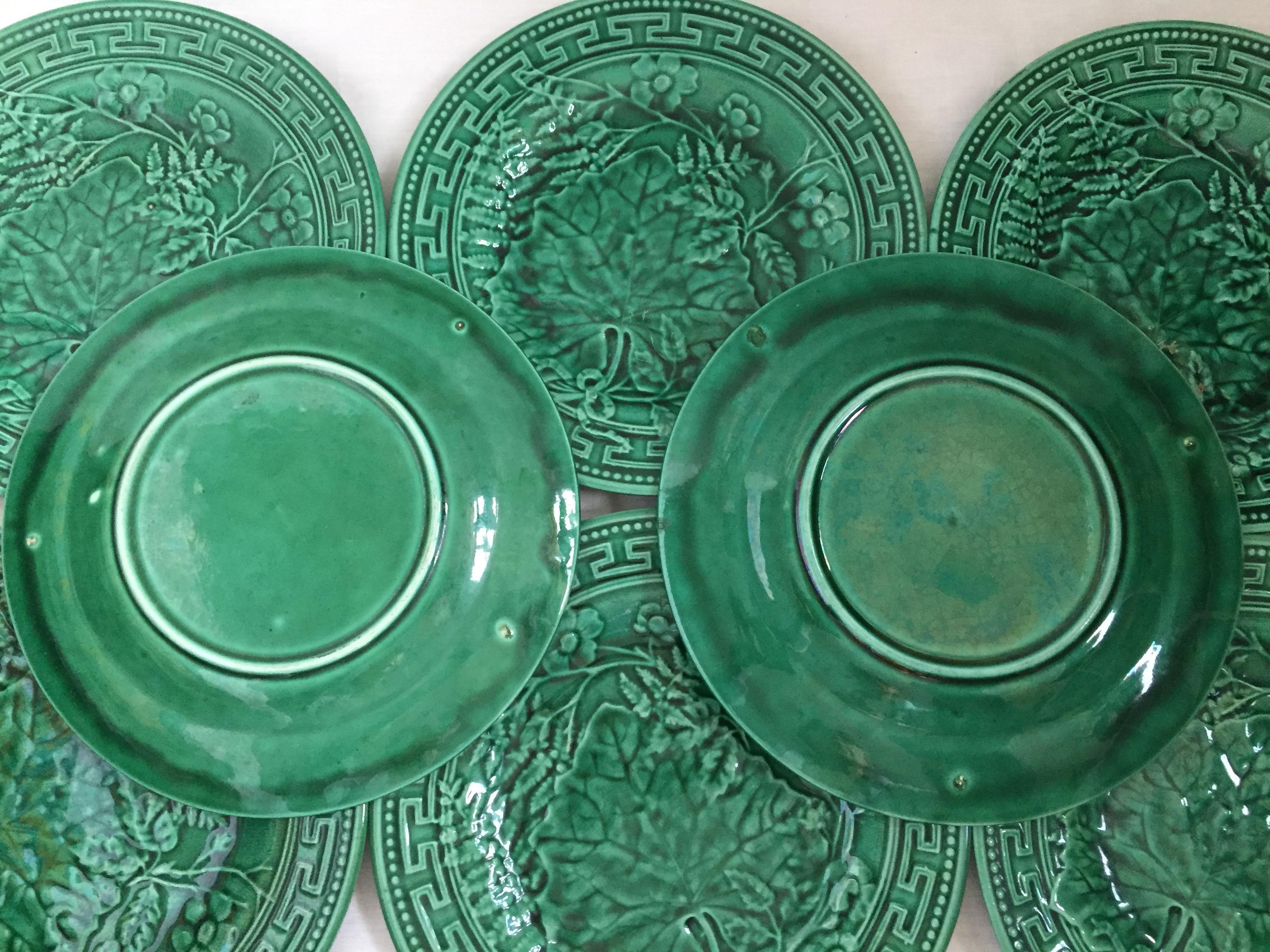 Majolica Set of 8 Green Plates With Greek Key Design - Image 5 of 7  sc 1 st  Chairish & Majolica Set of 8 Green Plates With Greek Key Design | Chairish
