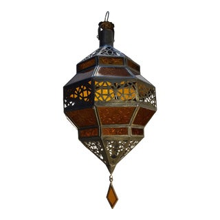 Handcrafted Moroccan Metal and Amber Glass Octagonal Diamond Shape Lantern For Sale