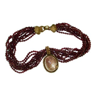 Stephen Dweck Jewelry 9 Strand Garnet Necklace With Rutilated Quartz Drop For Sale