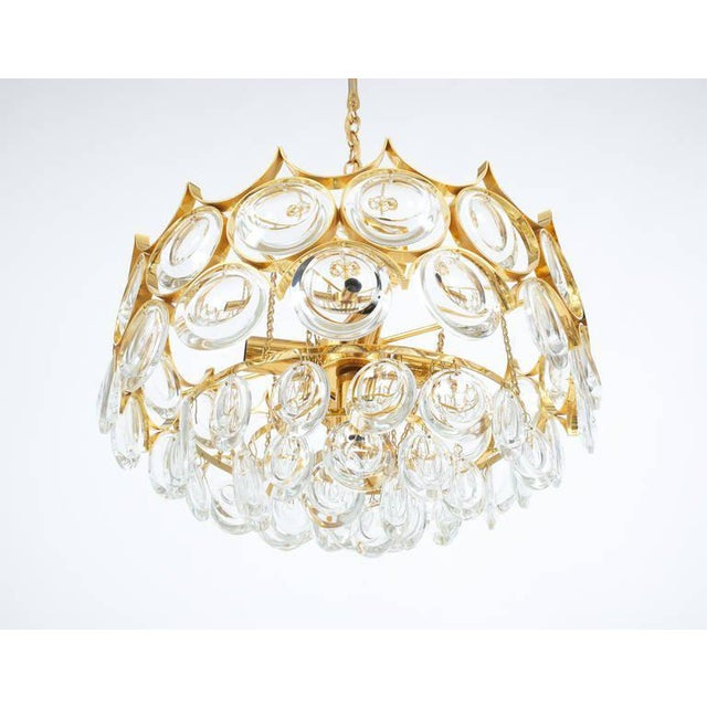 Palwa Palwa Pair of Petite Gold Brass Glass Chandeliers Lamps Refurbished, 1960 For Sale - Image 4 of 7