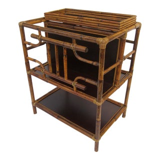 British Scorch Burnt Bamboo Table, Magazine Stand Holder For Sale