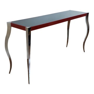 Forged Stainless and Painted Steel Console by Curtis Norton For Sale