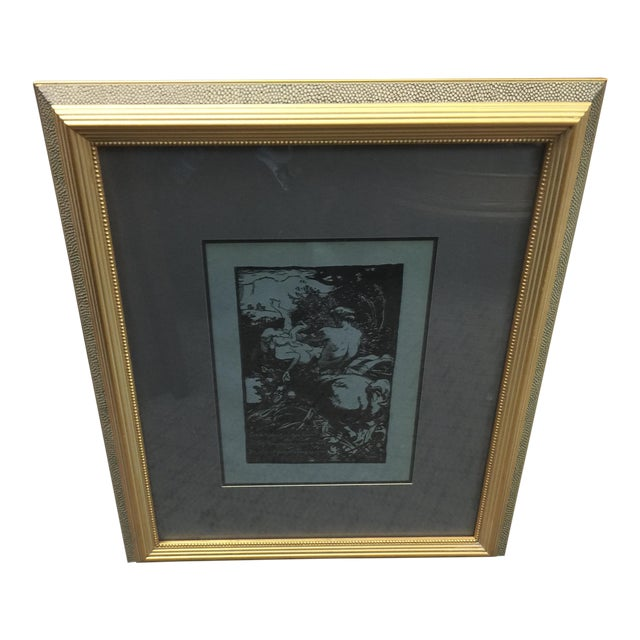 Auguste Lepere Woodcut Le Trophee Circa 1900 For Sale