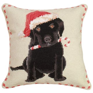 "Christmas Black Lab 16""x16"" Needlepoint Pillow For Sale"