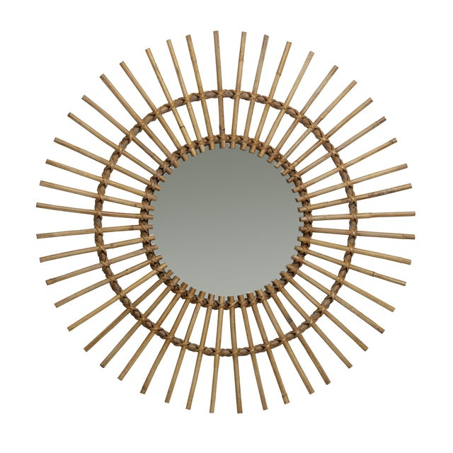 Natural rattan and leather wrapped starburst mirror with art deco flare.