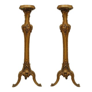 19th C. French Louis XV Style Gilt Pedestals - a Pair For Sale