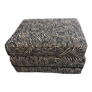 "Custom Made Animal Print Zebra Ottoman 30"" W by 17"" H For Sale"