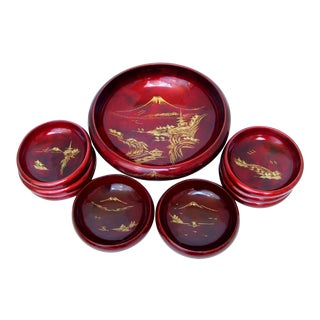 Japanese Lacquer Dinnerware, 9 Pieces For Sale