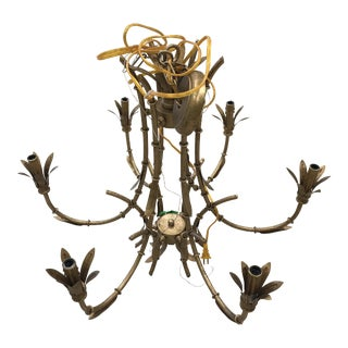 Chinoiserie Style Metal Gold Tone Wired Chandelier For Sale