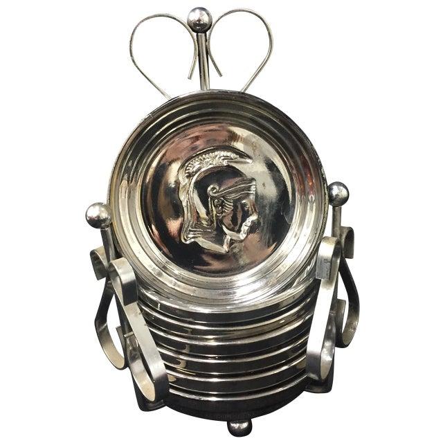 Mid-Century Mercury Glass Centurion Coasters For Sale