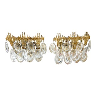 Pair of Gilt Brass & Crystal Brutalist Sconces by Palwa