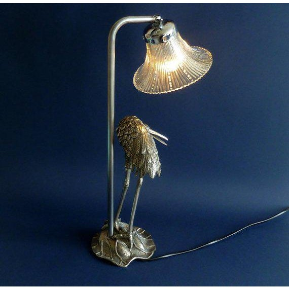 Metal Hollywood Regency Maison Bagues Silvered Bronze/ Crystal Shade Heron Lamp For Sale - Image 7 of 8