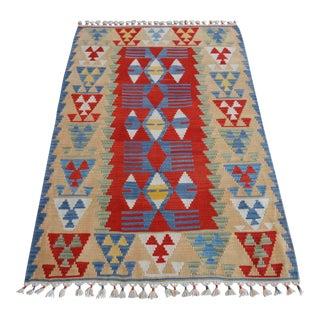 Hand Woven Turkish Oushak Kilim Flat Weave Wool Rug For Sale