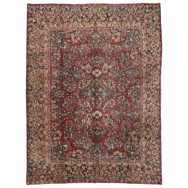 1910s 1900s Antique Persian Sarouk Neoclassical Style Rug- 8′10″ × 11′10″ For Sale - Image 5 of 5