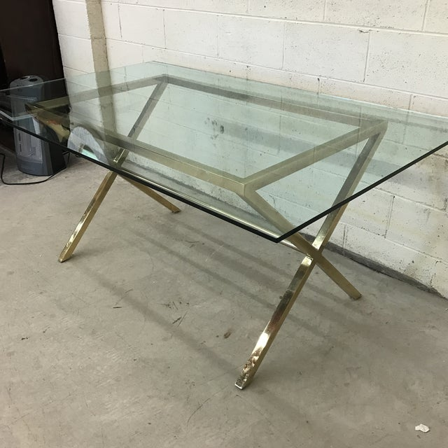 Contemporary Contemporary Brass & Glass Dining Desk Table For Sale - Image 3 of 11