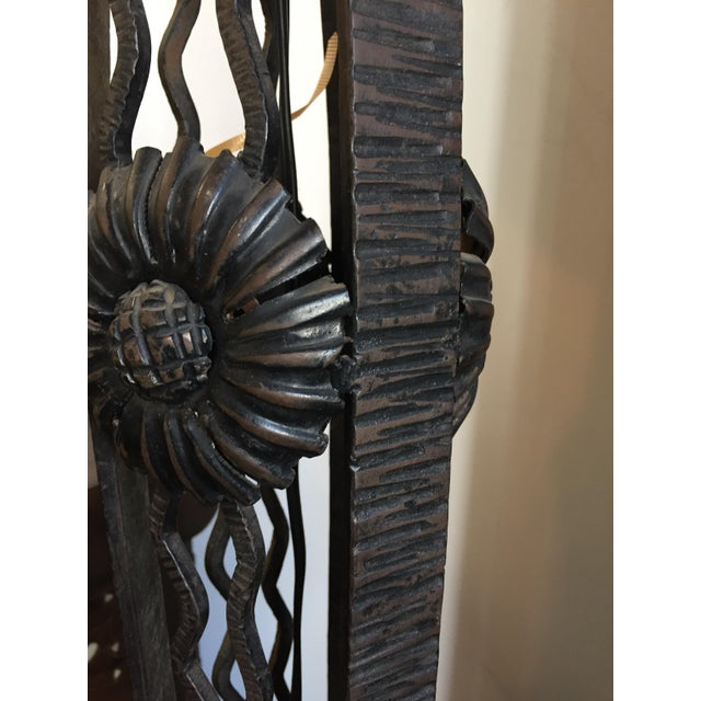 French Art Deco Wrought Iron Tripod Base Floor Lamp For Sale - Image 10 of 12
