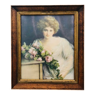 Antique Lady's Portrait in Frame For Sale