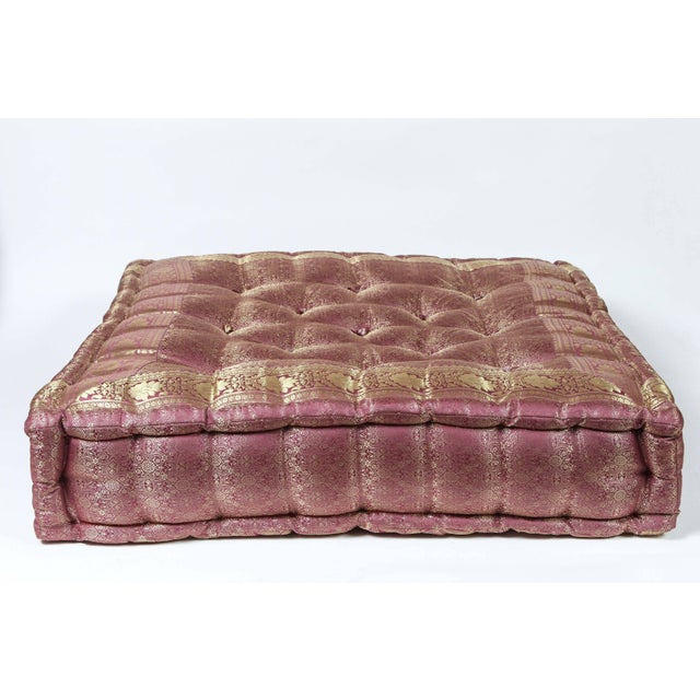 Metal Oversized Silk Square Mauve and Gold Tufted Moroccan Floor Pillow For Sale - Image 7 of 7