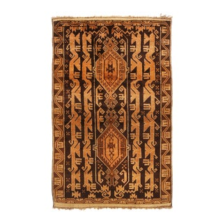 1960s Transitional Baluch Golden Brown Wool Persian Rug For Sale