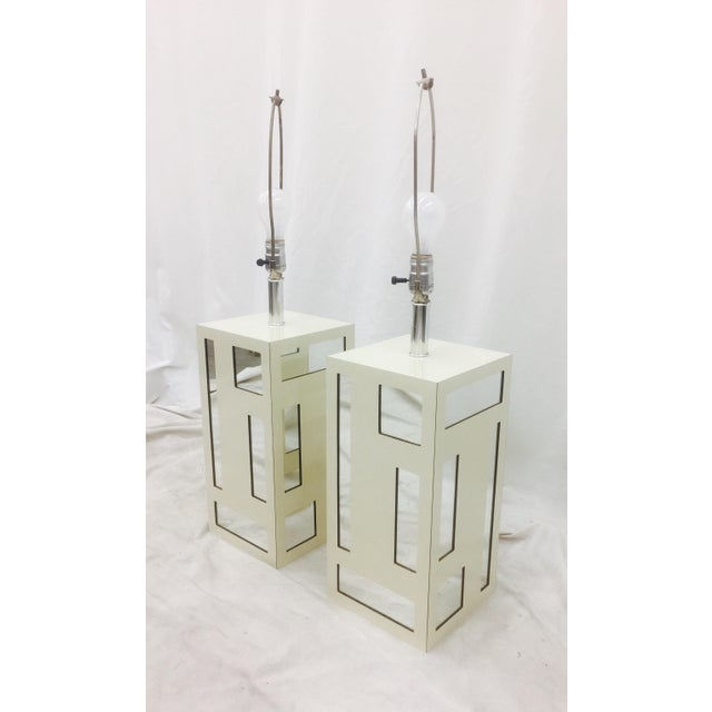 Vintage Mid-Century Mirrored Lamps - A Pair For Sale - Image 5 of 10