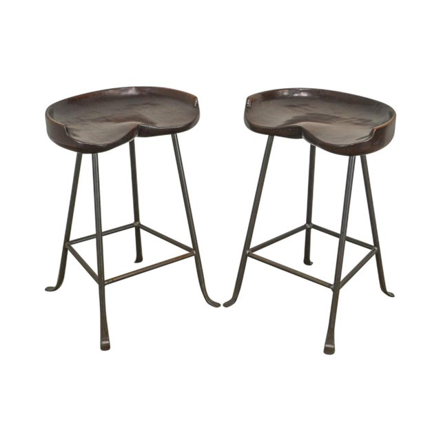 Custom Quality Solid Wood Seat Pair of Iron Backless Bar Stools For Sale - Image 13 of 13