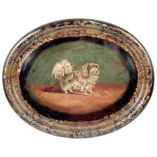 Antique English Pekingese Motif Tole Tray For Sale