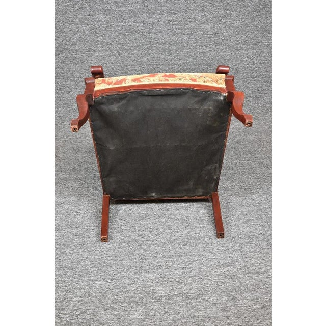 Antique Old World Ornately Carved Shield Back Arm Chair Burgundy Floral Tapestry For Sale - Image 12 of 13