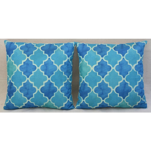 BoHo Chic Moroccan Tiles Linen Feather/Down Pillows - Pair - Image 4 of 11