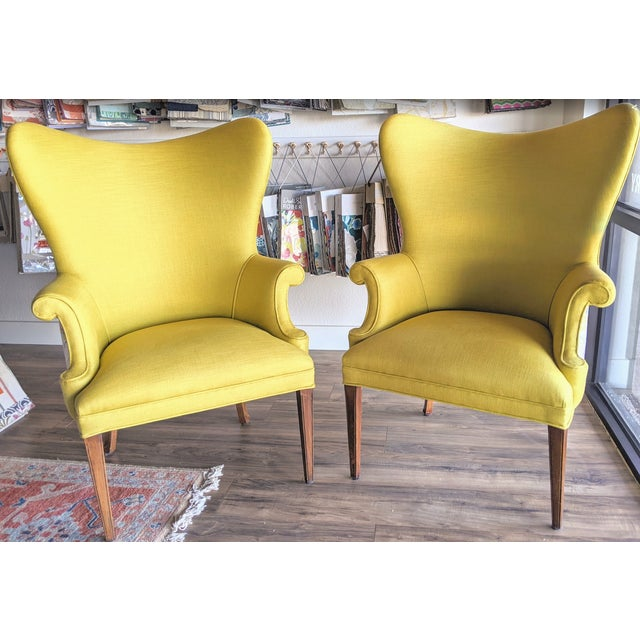 1940s Yellow & Robert Allen Neo Toile Wingback Chairs - a Pair For Sale - Image 4 of 4