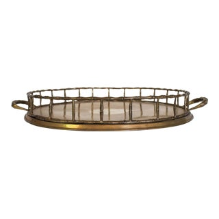 Circular Brass Faux Bamboo Tray For Sale