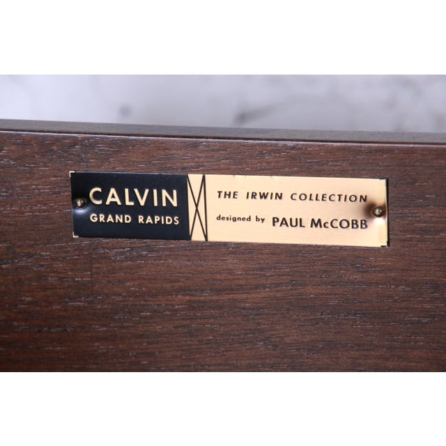 Paul McCobb Irwin Collection Mahogany and Brass Sideboard Cabinets (2 Available) For Sale - Image 12 of 13
