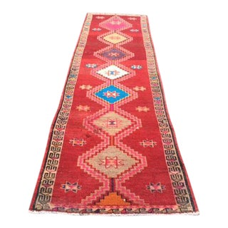 Antique Vintage Handwoven Runner Rug - 2′11″ × 10′8″