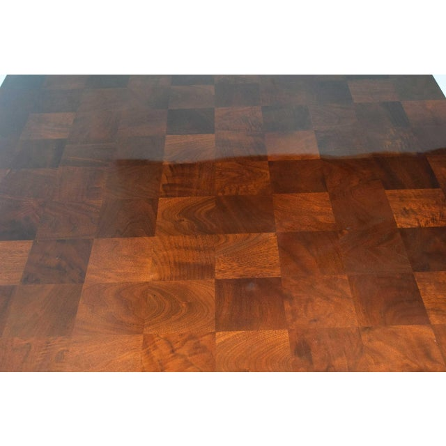 Milo Baughman Burl Wood Parquet Card or Dining Table For Sale In Dallas - Image 6 of 13