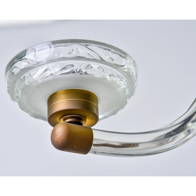 1940s Art Deco Three Light Glass Chandelier For Sale - Image 5 of 12