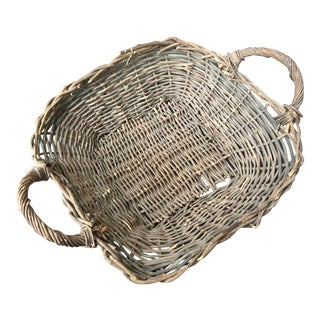 Late 19th Century Rustic Twig Basket Tray With Handles For Sale