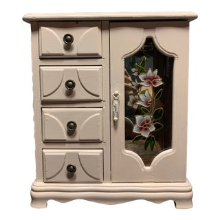 20th Century Shabby Chic Mele Wood Jewelry Chest With Glass Door and Floral Designs For Sale