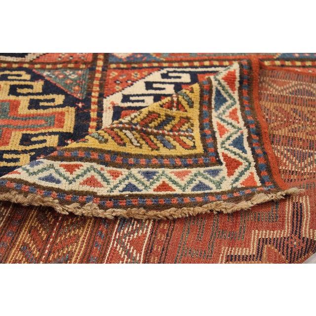 AntiqueRussian Area Rug Kazak Design For Sale - Image 4 of 5