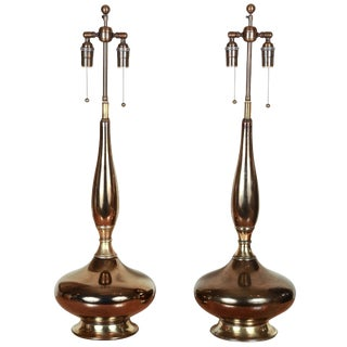 1960s Metallic Glazed Lamps - a Pair For Sale