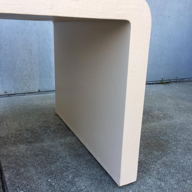 1970s Modernist Waterfall Lacquered Linen Console and Side Table For Sale - Image 5 of 12