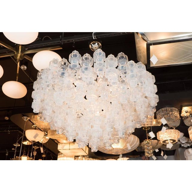 Modernist Opalescent and Clear Murano Glass Barbell Chandelier For Sale In New York - Image 6 of 10