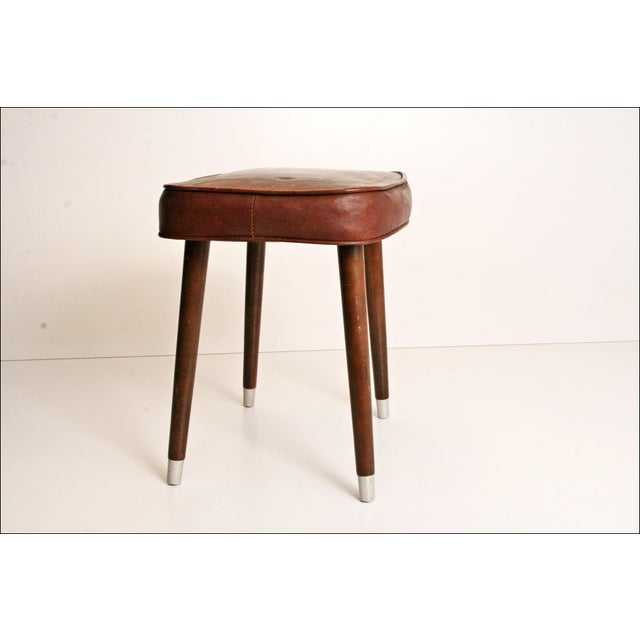 Mid-Century Brown Vinyl Foot Stool - Image 8 of 8