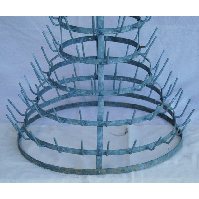 Early 1900s French Zinc Bottle Drying Rack - Image 4 of 9