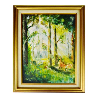 Framed Oil on Board Signed Painting of Deer in Forest For Sale