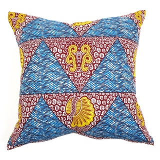 African Dutch Wax Blue Accent Pillow