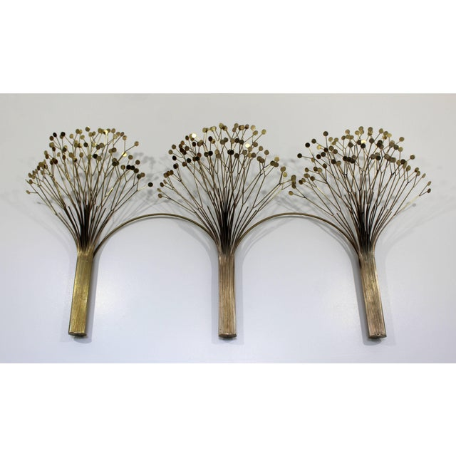 1970s 1970s Mid-Century Modern Brass Three Tree Wall Sculpture by Curtis Jere For Sale - Image 5 of 7